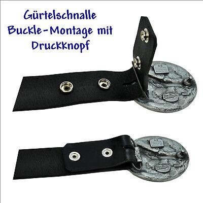 * 001 Ledergürtel Buckle 85 cm schwarz mit Druckknopf Wechselgürtel