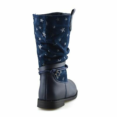 Girls Kids Childrens Zip Up School Winter Casual Mid Calf Biker Boots Shoes Size 9