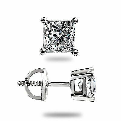 1.05Ct Princess cut Solitaire Stud Earrings Lab Diamond 14k White Gold Screwback 3