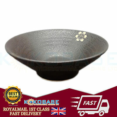 """1x Black Oriental Chinese Japanese Ramen Noodle Bowls Rice Bowls Dishes 8"""" 5"""