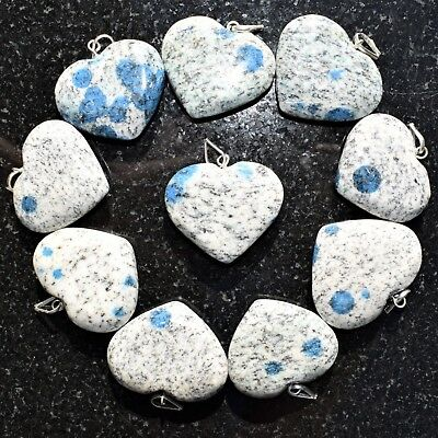 """CHARGED K2 Granite (Azurite) Crystal HEART Perfect Pendant™ + 20"""" Chain 8"""