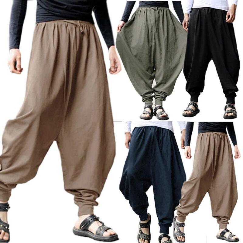 Mens Harem Yoga Baggy Pants Sport Jogger Ali Baba Trousers Buckles Slacks Hippie