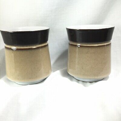 "Pair of Denby Country Cuisine Mugs Coffee Cup Brown  Tan 3 3/4"" Mid Century Look 4"