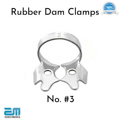 Set of 3 Dental Restorative Rubber Dam Clamps Endodontic Ivory Molars Placement 2