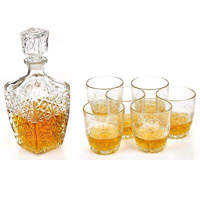 7 Pc Bormioli Rocco Whisky Decanter & Whiskey Tumblers Wine Glasses Gift Box Set 3