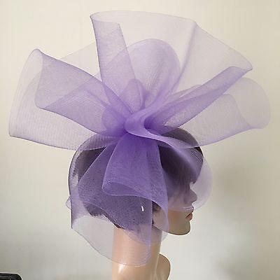 light pale purple lilac fascinator millinery burlesque wedding hat ascot 3