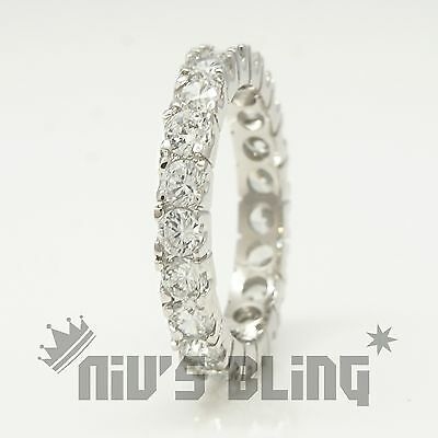 18K White Gold Lab Diamond Wedding Engagement Band Eternity Women Promise Ring 7