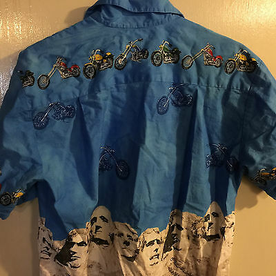 4b445326f ... Men's Ky's Hawaii Motorcycle Mount Rushmore Presidents Camp Hawaiian  Shirt S 6