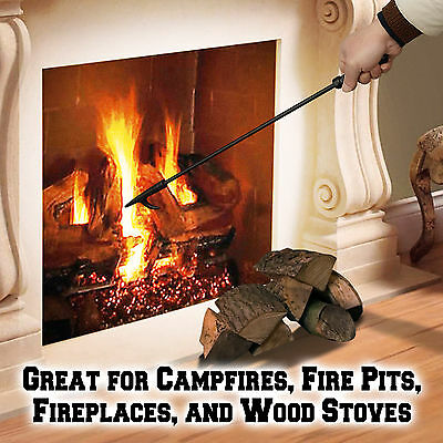 """New Campfire Fireplace Fire Tender Poker Tool Extra Long 27/"""" Camping Cookout BBQ"""