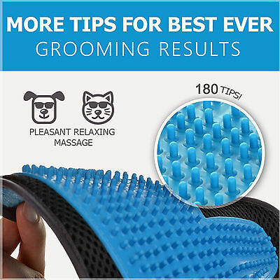 [2-in-1 Pet Glove] Soft Rubber Grooming Brush Tool + Furniture Pet Hair Remover 3