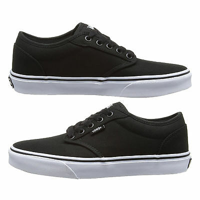23826e50adc5 ... VANS Atwood Mens Canvas Skater Trainers Plain Shoes Lace Up Plimsoll  Black White 3