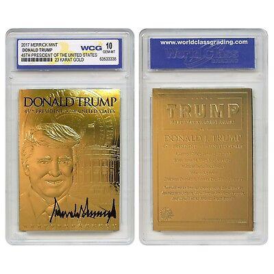DONALD TRUMP 45th President 23K GOLD Sculpted SIGNATURE Card GRADED GEM MINT 10 2