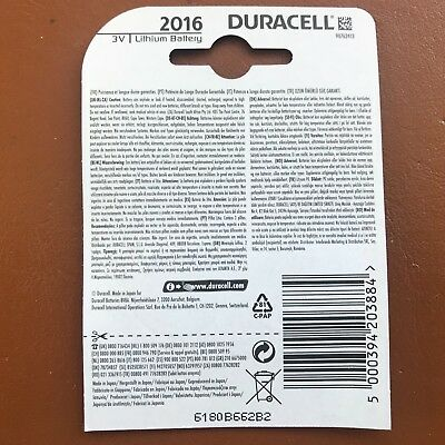 2 x Duracell CR2016 3V Lithium Coin Cell Battery 2016 DL2016 BR2016 SB-T11 2