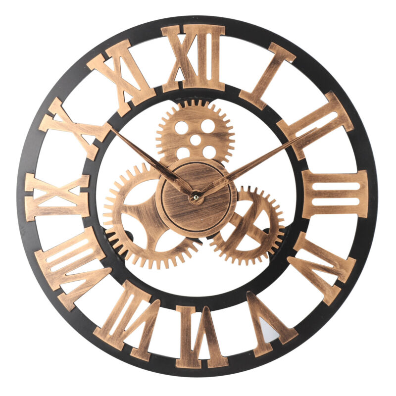 New 60CM Outdoor Garden Large Wall Clock Vintage Roman Numeral Gear Rustic UK 2
