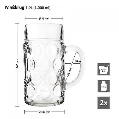 2er Set Maßkrug 1 L geeicht Bierkrug Glas Bierglas Glaskrug Maß Bier Maßkrüge 6