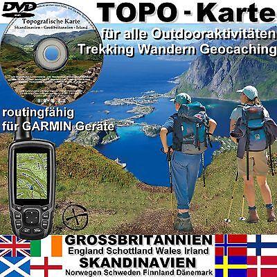 Topografische Karte GARMIN Schottland UK England IRLAND Skandinavien BaseCamp