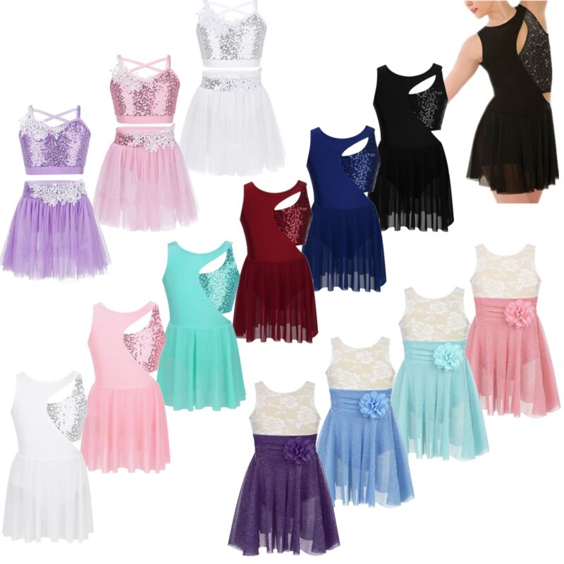 Girls Figure Skating Baton Twirling Dance Costume Kid Sequined Competition Dress