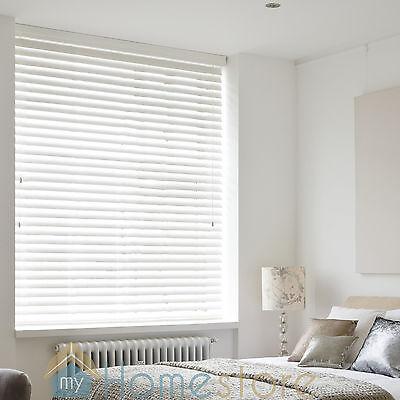 Brilliant White - Wooden Venetian Wood Blind - 3 Slat Choices  - Child Safe 3