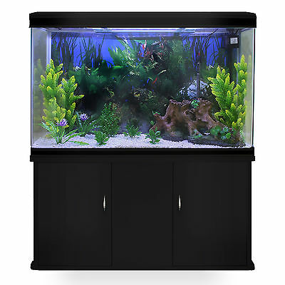 Fish Tank Aquarium Black Cabinet Complete Set Up Tropical Marine 300 Litre 4ft 2