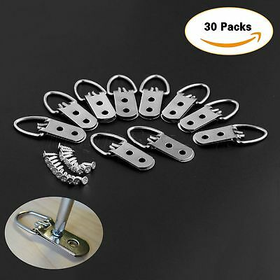 30Pcs 53mm*23mm Heavy Duty D-Ring Picture Hangers Frame Hanging 2 Hole+60 Screws 4
