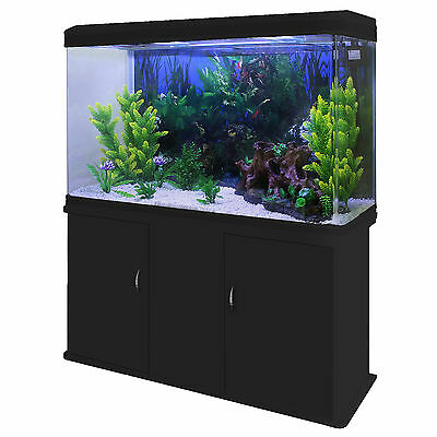 Fish Tank Aquarium Black Cabinet Complete Set Up Tropical Marine 300 Litre 4ft 3