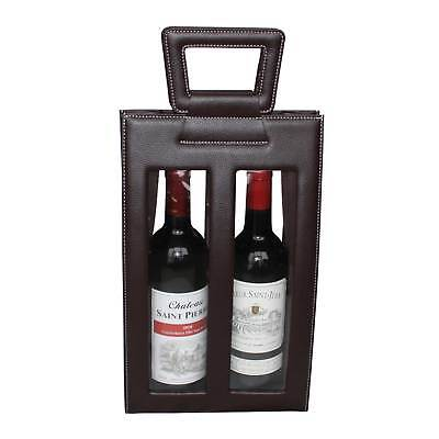 Leather Red Wine carrier bag brown Gift Bags for 2 double bottle 2