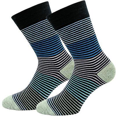 Damen-Socken ohne Gummi Komfort-Socken 6er Pack mit bunten Ringel Baumwolle