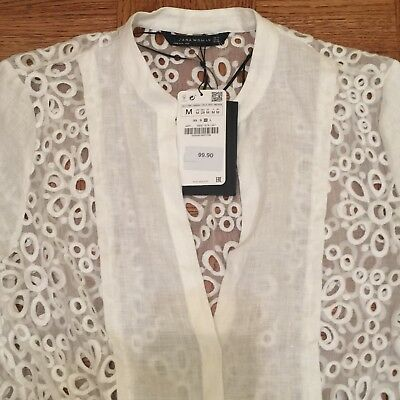 90eb92d3e8 ZARA WHITE EYELET Dress Beach Cover Up NWT! SOLD OUT!! - $125.99 ...
