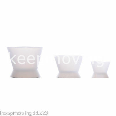 3 Pcs Flexible Dental Lab Silicone Mixing Cup Acrylic NonStick Bowl Dappen Dish 3
