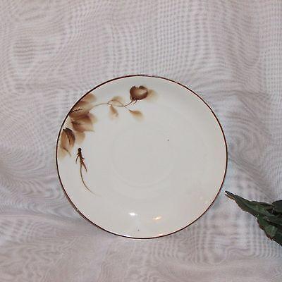Vintage Cup & Saucer Occupied Japan Hand Painted Brown Rose Teacup Post Ww2 Era 5