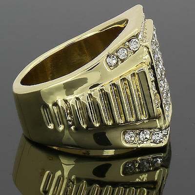 4f1b9402db6513 ... Mens 14k Gold Plated Iced Out Hip Hop Style 6 Square Ring CZ Crystal  Bling Pinky