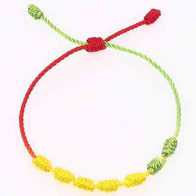 Pulsera roja de 7 nudos de la suerte para hombre o mujer de hilo bracelets 9