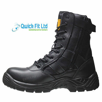 New Mens Military Army Leather Combat Work Zip Up Walking Ankle Boots Shoes Size 3