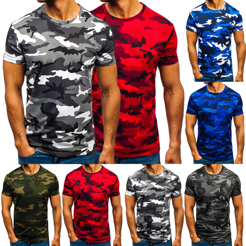 Mens Military Camouflage T Shirt Army Camo Combat Tee Summer Beach Top Jungle