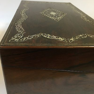 Fine Quality Antique Victorian Rosewood Mother Of Pearl Writing Slope Damage 8