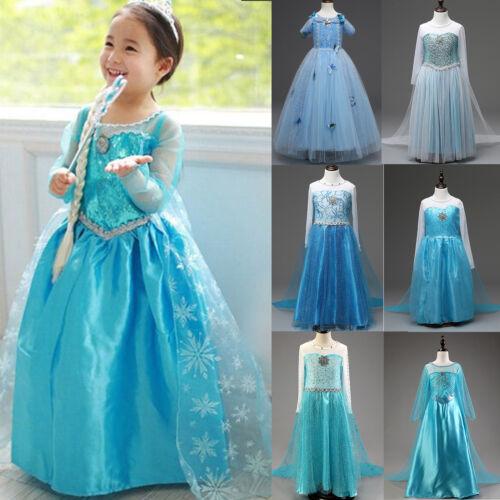Kids Girls Dress Princess Anna Elsa Cosplay Costume Clothes Party Fancy  Dress Up 2 2 of 12 ... df09bdca8438