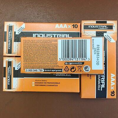 40 x Duracell AAA Industrial Procell Alkaline Batteries LR03 MN2400 Expiry 2024 2
