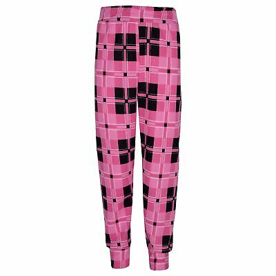 Girls Tracksuit Kids Pink Checked Print Lounge Suit Top Bottom Joggers 7-13 Yr 4