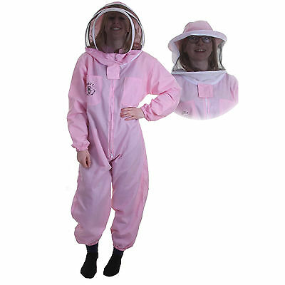 Buzz Basic Beekeeping Bee Suit (Pink) With Round and Fencing Veil And Gloves