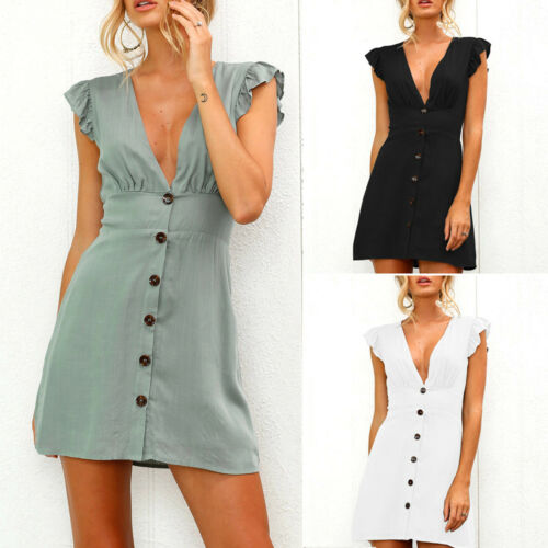 Women Summer Midi Dress Button Casual Evening Party Swing Beach Sundress Sz 8-14