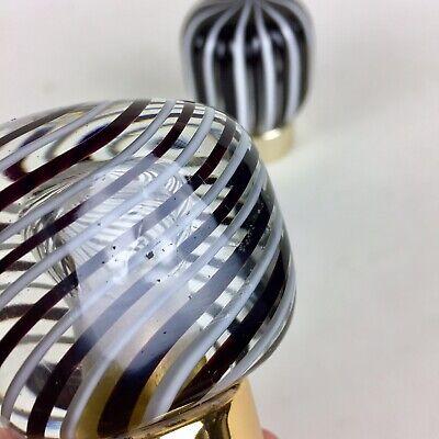 Vtg Italian Murano Glass Shower Sink Vanity Faucet Knobs Decorative Black White 6