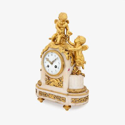 French Napoleon III ormolu clock, pendulette, putti Cupid signed Vincenti & Cie 3