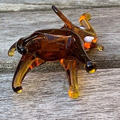 "VTG Italian Murano Art Glass Miniature Animal Figurine Amber Elephant 2 5/8"" 7"