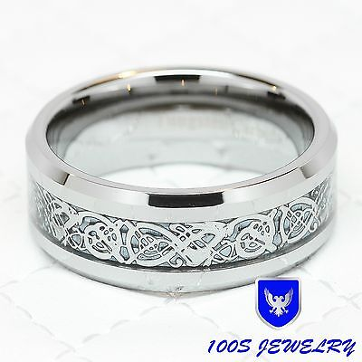 8MM Tungsten Carbide Silver Celtic Dragon Inlay Mens Ring Wedding Band Size 8-14