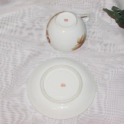 Vintage Cup & Saucer Occupied Japan Hand Painted Brown Rose Teacup Post Ww2 Era 6