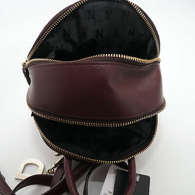 tx New DKNY Lara Mini Quilted Leather Crossbody Cordovan $248