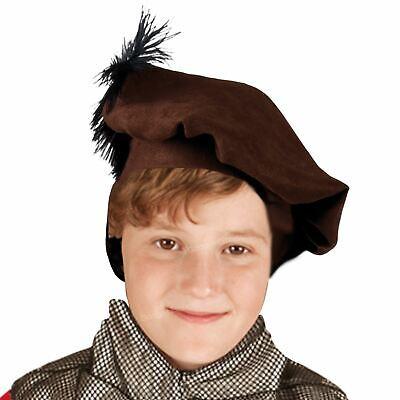 Boys Brown Medieval Friar Tuck Tudor Fancy Book Week Dress Hat Beret Feather 4