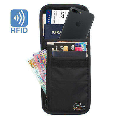 RFID Blocking Neck Stash Pouch Travel Wallet Holder Bag Money Cord Passport Hold 2