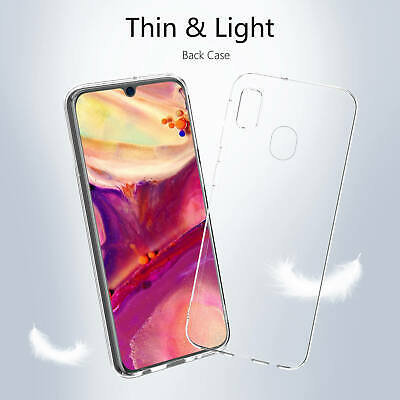 Samsung Galaxy A40 A50 Clear Gel Case Tempered Glass Screen Protector TPU Cover 3