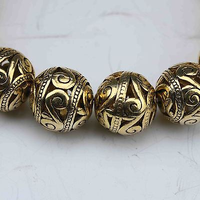 China Tibetan silver gilt Hand Carved Hollow out small ball Bracelet 3